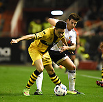 Valencia's Santi Mina and Barakaldo's Ortega during Spain King Cup match. December 16, 2015. (ALTERPHOTOS/Javier Comos)