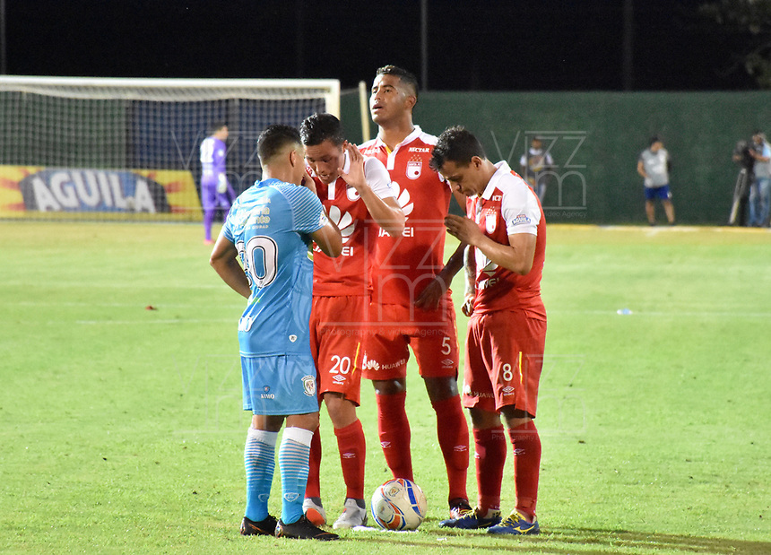 MONTERIA - COLOMBIA, 20-08-2018: Jaguares de Córdoba e Independiente Santa Fe en partido por la fecha 5 de la Liga Águila II 2018 jugado en el estadio Municipal de Montería. / Jaguares of Cordoba and Independiente Santa Fe in match for the date 5 of the Liga Aguila II 2018 at the Municipal de Monteria Stadium in Monteria city. Photo: VizzorImage / Andres Felipe Lopez / Cont