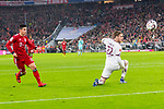 17.03.2019, Allianz Arena, Muenchen, GER, 1.FBL,  FC Bayern Muenchen vs. Mainz 05, DFL regulations prohibit any use of photographs as image sequences and/or quasi-video, im Bild Tor zum 5-0 durch James Rodriguez (FCB #11) mit Florian Mueller (Mainz #22) <br /> <br />  Foto &copy; nordphoto / Straubmeier