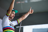 World Champion Peter Sagan (SVK/Bora Hansgrohe) is the final winner of the points classification. <br /> <br /> Binckbank Tour 2017 (UCI World Tour)<br /> Stage 7: Essen (BE) &gt; Geraardsbergen (BE) 191km