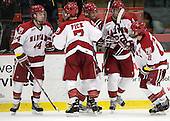 Max Everson (Harvard - 44), Danny Fick (Harvard - 7), Peter Starrett (Harvard - 14), David Valek (Harvard - 22), Daniel Moriarty (Harvard - 11) - The Harvard University Crimson and Quinnipiac University Bobcats played to a 2-2 tie on Saturday, November 5, 2011, at Bright Hockey Center in Cambridge, Massachusetts.
