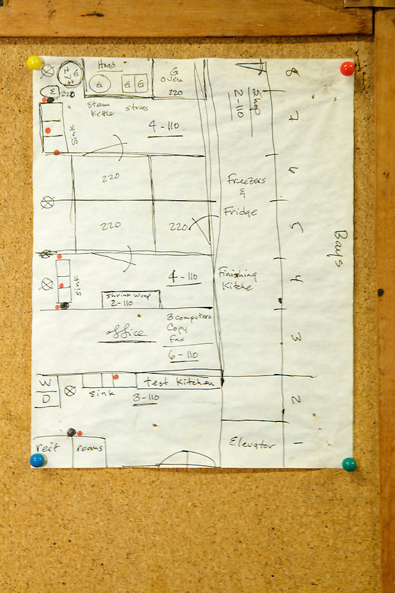 The floor plan of the kitchens at Hana Pastries.