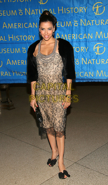 EVA LONGORIA.American Museum of Natural History Annual Gala Benefit, New York, NY..November 16th, 2005.Photo: Jackson Lee/Admedia/Capital Pictures.Ref: JL/ADM.full length black jacket beige lace dress peep toe ribbon shoes.www.capitalpictures.com.sales@capitalpictures.com.© Capital Pictures.