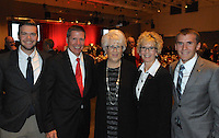 NWA Democrat Gazette/JOCELYN MURPHY<br /> At the seventh annual Brandon Burlsworth Legends Dinner, this year's honoree Judy McReynolds (second from right) poses with her son Johnny (left), husband Lance, Barbara Burlsworth and son Brett.