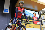 Yukiya Arashiro (JPN) Bahrain-Merida at sign on in Dusseldorf before the start of Stage 2 of the 104th edition of the Tour de France 2017, running 203.5km from Dusseldorf, Germany to Liege, Belgium. 2nd July 2017.<br /> Picture: Eoin Clarke | Cyclefile<br /> <br /> <br /> All photos usage must carry mandatory copyright credit (&copy; Cyclefile | Eoin Clarke)