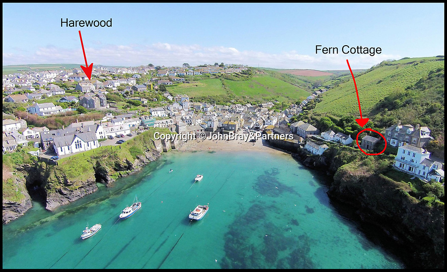 BNPS.co.uk (01202 558833)<br /> Pic: JohnBray&Partners/BNPS<br /> <br /> The Property on the left in relation to Fern Cottage, where the popular series 'Doc Martin' was based.<br /> <br /> Doc Martin fans will be fighting to get their hands on this Cornish holiday cottage in the hugely sought-after fishing village - on the market for £560,000.<br /> <br /> Harewood, a three-bedroom Victorian home, is set back from the picturesque harbour of Port Isaac in a prime hill-side spot where the owners can look out over not only the harbour, where a lot of filming takes place, but also across to Doc Martin's 'surgery', Fern Cottage.<br /> <br /> The lucky homebuyers could buy themselves a front row seat to the action, with the ninth and final series of the ITV comedy drama set to start filming in spring next year.<br /> <br /> Doc Martin has been filmed in Port Isaac since 2004, when it started doubling as the fictional village of Port Wenn.