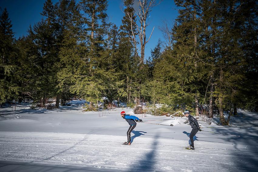 Cross-country skiing at the Noquemanon Trail Network's Forestville Trailhead in Marquette, Michigan.