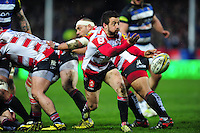 Greig Laidlaw of Gloucester Rugby passes the ball. Aviva Premiership match, between Gloucester Rugby and Bath Rugby on March 26, 2016 at Kingsholm Stadium in Gloucester, England. Photo by: Patrick Khachfe / Onside Images