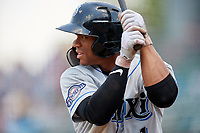 Biloxi Shuckers center fielder Corey Ray (1) on deck during a game against the Montgomery Biscuits on May 8, 2018 at Montgomery Riverwalk Stadium in Montgomery, Alabama.  Montgomery defeated Biloxi 10-5.  (Mike Janes/Four Seam Images)