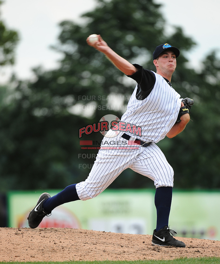 Trenton Thunder pitcher Danny Burawa (38) during game against the Harrisburg Senators at ARM & HAMMER Park on July 31, 2013 in Trenton, NJ.  Harrisburg defeated Trenton 5-3.  (Tomasso DeRosa/Four Seam Images)