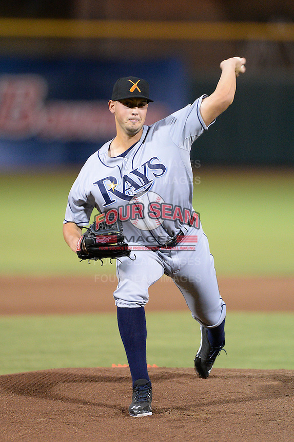 Salt River Rafters pitcher Grayson Garvin (34), of the Tampa Bay Rays organization, during an Arizona Fall League game against the Scottsdale Scorpions on October 9, 2013 at Scottsdale Stadium in Scottsdale, Arizona.  Salt River defeated Scottsdale 12-2.  (Mike Janes/Four Seam Images)