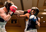 February 3, 2012:   Nevada boxer Cordarius Taylor, right, fights against Air Force Academy boxer Glenn Miltenberg in the 150 pound class match held at the Eldorado Convention Center on Friday night in Reno, Nevada.  Taylor won the bout by decision.
