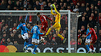 Napoli's Alex Meret claims a cross over the head of Liverpool's Roberto Firmino<br /> <br /> Photographer Alex Dodd/CameraSport<br /> <br /> UEFA Champions League Group E - Liverpool v Napoli - Wednesday 27th November 2019 - Anfield - Liverpool<br />  <br /> World Copyright © 2018 CameraSport. All rights reserved. 43 Linden Ave. Countesthorpe. Leicester. England. LE8 5PG - Tel: +44 (0) 116 277 4147 - admin@camerasport.com - www.camerasport.com