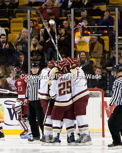 Matt Price (BC - 25) goal - The Boston College Eagles defeated the Harvard University Crimson 6-0 on Monday, February 1, 2010, in the first round of the 2010 Beanpot at the TD Garden in Boston, Massachusetts.
