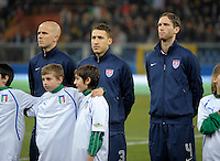 Michael Bradley, Fabian Johnson, Clarence Goodson  (USA), before the friendly match Italy against USA at the Stadium Luigi Ferraris at Genoa Italy on february the 29th, 2012.
