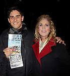 Ilene Zatkin-Butler (r) won a walk on role on Broadway's Rock of Ages and poses with Justin Scribner (production stage manager) at the Helen Hayes Theatre, NYC, NY on December 17, 2014 while attending The Jane Elissa Extravaganza 2014 - 19 years - benefiting the Jane Elissa/Charlotte Meyer Endowment Fund which raises revenue that directly supports the research  of the Leukemia/Lymphoma Society. The grant goes to an individual researcher. (Photo by Sue Coflin/Max Photos)