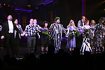 "Adam Dannheisser, Rob McClure, Sophia Anne Caruso, Alex Brightman, Kerry Butler, Leslie Kritzer and Jill Abramovitz during the Broadway Opening Night Performance Curtain Call for ""Beetlejuice"" at The Winter Garden on April 25, 2019 in New York City."