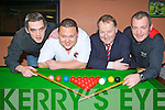 John Friel Killarney, Derry O'Sullivan Tournament Director, Paul Sherry Killarney Outlet Centre and Brian O'Regan Killarney who are preparing for the new Kerry Snooker Championships which has been resurrected and will begin in March