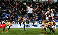 Bolton Wanderers' Josh Magennis heads at goal<br /> <br /> Photographer Andrew Kearns/CameraSport<br /> <br /> The EFL Sky Bet Championship - Bolton Wanderers v Sheffield Wednesday - Tuesday 12th March 2019 - University of Bolton Stadium - Bolton<br /> <br /> World Copyright © 2019 CameraSport. All rights reserved. 43 Linden Ave. Countesthorpe. Leicester. England. LE8 5PG - Tel: +44 (0) 116 277 4147 - admin@camerasport.com - www.camerasport.com