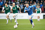 Hibs v St Johnstone...30.01.16   Utilita Scottish League Cup Semi-Final, Tynecastle..<br /> Michael O'Halloran pulls away from David Gray<br /> Picture by Graeme Hart.<br /> Copyright Perthshire Picture Agency<br /> Tel: 01738 623350  Mobile: 07990 594431