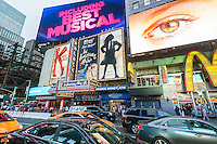 Advertising in Times Square in New York for Broadway shows on Tuesday, May 24, 2016. Once again the 2015-2016 Broadway season was the highest-grossing season in history according the The Broadway League with audience attendance up 1.6 percent over last season and box office grosses up 0.6 percent. (© Richard B. Levine)