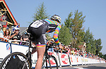 "August 121, 2015 - Breckenridge, Colorado, U.S. -  DNA Cycling rider, Lauren De Crescenzo, leaves the time trial start house during the inaugural women's edition of the U.S. Pro Cycling Challenge, Breckenridge, Colorado.  Known as ""America's Race,"" the USA Pro Challenge takes place August 17-23, 2015 and for the first time will highlight women's cycling through an inaugural  three-day invitation-only event that will feature many of the USA's top women cyclists."