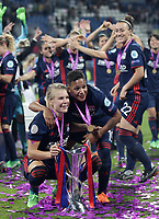 Football, Uefa Women's Champions League Final, VfL Wolfsburg - Olympique Lyonnais, Valeriy Lobanovskyi Stadium in Kiev on May 24, 2018.<br /> Olympique Lyonnais' Ada Hegerberg (l) and Shanice Van de Sanden (r) celebrates with the trophy after winning 4-1 the Uefa Women's Champions League Final against VfL Wolfsburg at Valeriy Lobanovskyi Stadium in Kiev on May 24, 2018.<br /> UPDATE IMAGES PRESS/Isabella Bonotto