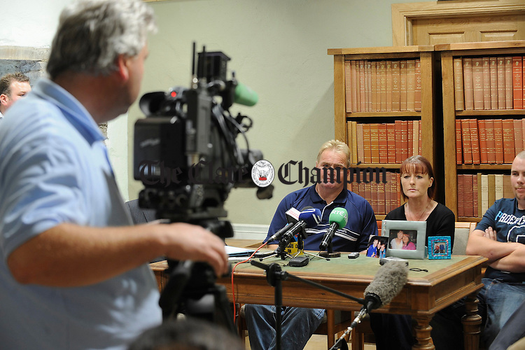 Parents of cancer misdiagnosis victim Edel Kelly, John and Una, face the media with their son-in law Noel Mc Grinne, at the press conference in Kilrush. Photograph by John Kelly.