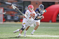 College Park, MD - February 25, 2017: Maryland Terrapins Matt Neufeldt (28) controls the ball during game between Yale and Maryland at  Capital One Field at Maryland Stadium in College Park, MD.  (Photo by Elliott Brown/Media Images International)