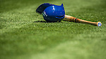 22 June 2013: Los Angeles Dodgers second baseman Mark Ellis' batting helmet and bat lie on the turf prior to a game against the San Diego Padres at Petco Park in San Diego, California. The Dodgers defeated the Padres 6-1 in the third game of their 4-game Divisional Series. Mandatory Credit: Ed Wolfstein Photo *** RAW (NEF) Image File Available ***