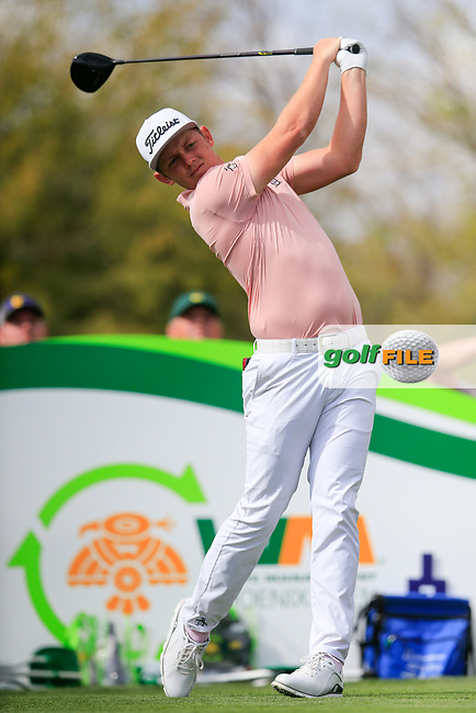 Cameron Smith (AUS) on the 9th tee during the 3rd round of the Waste Management Phoenix Open, TPC Scottsdale, Scottsdale, Arisona, USA. 02/02/2019.<br /> Picture Fran Caffrey / Golffile.ie<br /> <br /> All photo usage must carry mandatory copyright credit (&copy; Golffile | Fran Caffrey)
