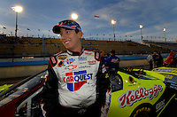 Apr 20, 2006; Phoenix, AZ, USA; Nascar Nextel Cup racer Kyle Busch driver of the (5) Kelloggs/Carquest Chevrolet Monte Carlo smiles after qualifying on the pole for the Nextel Cup Subway Fresh 500 at Phoenix International Raceway. Mandatory Credit: Mark J. Rebilas-US PRESSWIRE Copyright © 2006 Mark J. Rebilas