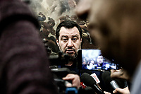 Matteo Salvini <br /> Rome February 11th 2019. Sala Salvadori. The Italian Minister of Internal Affairs in press conference after the outcome of regional elections in Abruzzo.<br /> Foto Samantha Zucchi Insidefoto