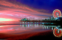 Santa Monica, Pacific Park, Pier, Fiery Sunset CGI Backgrounds, ,Beautiful Background