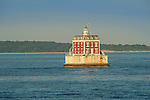New London Ledge Lighthouse, Fishers Island Sound, CT.  Thames River mouth. Colonial Revival and French second empire architecture. 1909