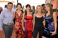 "PAUL J. ALESSI, producer/actor, KATRINA LAW, AMIE NARSKY, JOLANE LENTZ & SERAH D'LAINE.""Knuckle Draggers"" Premiere at the 2009 Newport Beach Film Festival held at Edwards Cinemas, Newport Beach, CA, USA..April 27th, 2009.half length purple shirt blue silk satin dress red pattern blue silk satin pink paisley clutch bag .CAP/ADM/BP.©Byron Purvis/AdMedia/Capital Pictures."