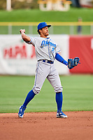 Raul Mondesi (26) of the Omaha Storm Chasers on defense against the Salt Lake Bees in Pacific Coast League action at Smith's Ballpark on May 8, 2017 in Salt Lake City, Utah. Salt Lake defeated Omaha 5-3. (Stephen Smith/Four Seam Images)