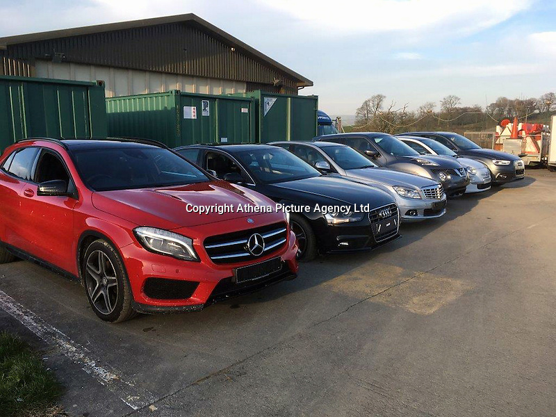 "Pictured: Police handout picture of some of the luxury cars sold by the two defendants<br /> Re: Two men who unknowingly sold over £100,000 worth of stolen cars to the police during a six month sting operation called Operation Red Anvil have been jailed.<br /> Dean Cronin, 41, and Daniel Gordon, 28, both from Cardiff, were operating at the top of a criminal network and were behind a campaign which saw luxury cars being stolen from driveways across south Wales.<br /> Houses were being burgled for the car keys inside, and vehicles were literally being driven off while their owners were sleeping upstairs.<br /> But little did they know, the buyers on seven occasions were police officers, who were building a file of damning evidence against the pair.<br /> Over the course of six months, between June and November, 2016, Cronin and Gordon sold vehicles worth £110,000 to officers for just under £5,400, which included a 14 plate Mercedes GLA, worth £31,000, for just £1,200.<br /> Cars being stolen were unknowingly sold to police officers working as part of a dedicated taskforce. The vehicles had been stolen from places such as Penarth, Cathays, Llanishen and Caerphilly. Officers were even offered two vehicles – a Nissan Juke and an Audi A3 - before the crime had been reported to the police, having been stolen from the same driveway in Penarth.<br /> The police operation came to a head when Dean Cronin and Daniel Gordon were arrested on Tuesday, 3rd January, 2017, during a pre-planned operation.<br /> They pleaded guilty to charges of conspiring to handle stolen goods at Cardiff Magistrates Court on 4th January, 2017. Dean Cronin was sentenced to 3 ½ years and Daniel Gordon sentenced to 20 months at Cardiff Crown Court on 24th February, 2017.<br /> Detective Inspector Dean Taylor, said: ""Dean Cronin and Daniel Gordon headed up an organised crime group which was behind a relentless campaign of crimes across the region. They created the market for stolen vehicles and in doing so they inflicted misery and the trauma of b"