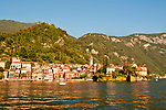 Varenna, a town on Lake Como, Italy as seen from the water at sunset