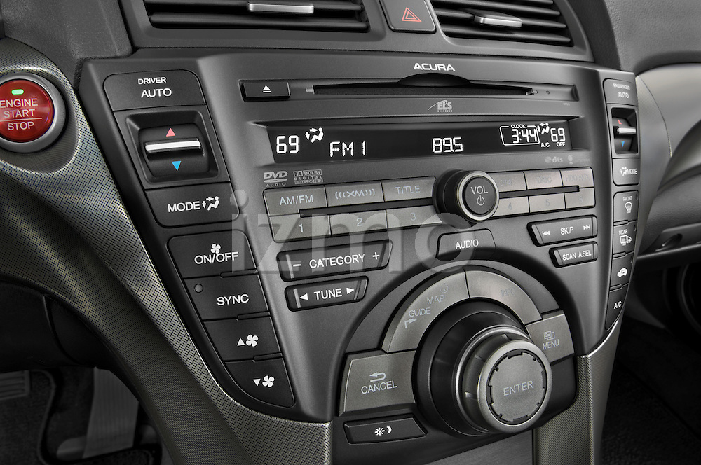 Stereo audio system close up detail view of a 2009 - 2014 Acura TL SH AWD Sedan.