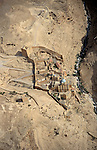 Judean desert, an aerial view of the Greek Orthodox Mar Saba Monastery in Wadi Kidron