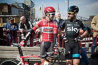Greg Henderson (NZL/Lotto-Soudal) &amp; Bernie Eisel (AUT/SKY) catching up before the start<br /> <br /> 103rd Scheldeprijs 2015