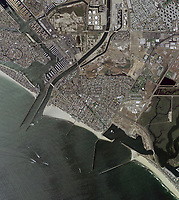 aerial photo map of of Seal Beach, Naples, Surfside, Orange County, California. Numerous breakwaters protecting harbors and beaches, 2005. For more recent aerial photo maps please contact Aerial Archives.