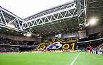 Stockholm 2014-04-16 Fotboll Allsvenskan Djurg&aring;rdens IF - AIK :  <br /> Vy &ouml;ver Tele2 Arena n&auml;r AIK:s supportrar har ett tifo innan matchen<br /> (Foto: Kenta J&ouml;nsson) Nyckelord:  Djurg&aring;rden DIF Tele2 Arena AIK supporter fans publik supporters inomhus interi&ouml;r interior