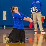 18 October 2015: Yeshiva University Maccabee Libero and Defensive Specialist Dalia Sieger, a Sophomore from Los Angeles, CA, digs during game action against the College of Mount Saint Vincent Dolphins at the Peter Sharp Center, in Riverdale, NY. The Dolphins defeated the Maccabees 3-0 in the NCAA Division III Women's Volleyball Skyline matchup. Mandatory Credit: Ed Wolfstein Photo *** RAW (NEF) Image File Available ***