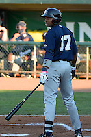 Jose Pena (17) of the Helena Brewers at bat against the Ogden Raptors in Pioneer League action at Lindquist Field in Ogden Utah on July 20, 2013. (Stephen Smith/Four Seam Images)