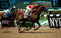 ELMONT, NY - JUNE 09: Hoppertunity  #2, ridden by Flavien Prat, wins the Brooklyn Invitational Stakeson Belmont Stakes Day at Belmont Park on June 9, 2018 in Elmont, New York. (Photo by Sue Kawczynski/Eclipse Sportswire/Getty Images)
