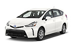 2015 Toyota Prius V Four 5 Door MPV angular front stock photos of front three quarter view