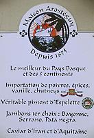 """Europe/France/Aquitaine/64/Pyrénées-Atlantiques/Biarritz: Enseigne de l'épicerie fine """"Arostéguy"""" 5 avenue Victor HUGO"""