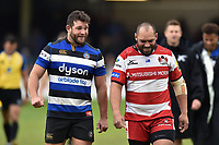 Nathan Catt of Bath Rugby and John Afoa of Gloucester Rugby have a chat after the match. Aviva Premiership match, between Bath Rugby and Gloucester Rugby on April 30, 2017 at the Recreation Ground in Bath, England. Photo by: Patrick Khachfe / Onside Images